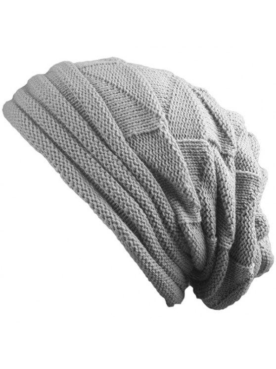 buy Knitted Triangle Fold Warm Beanie Hat - LIGHT GRAY