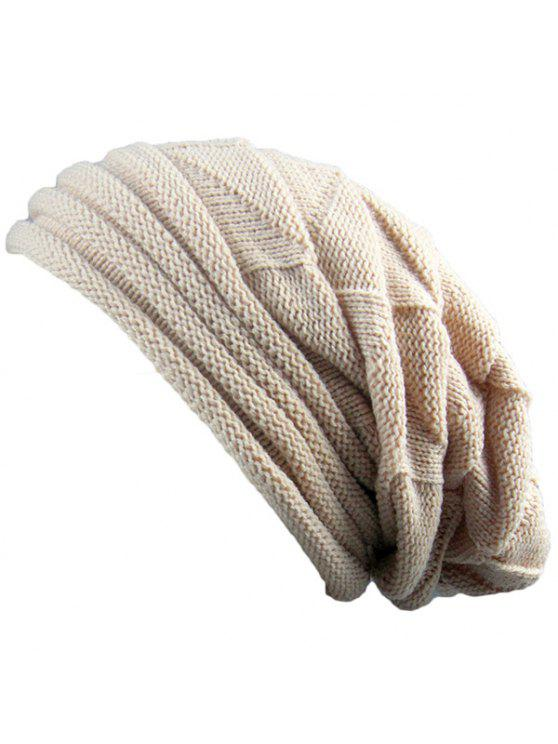 women's Knitted Triangle Fold Warm Beanie Hat - BEIGE