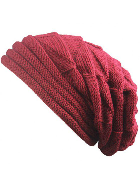 outfit Knitted Triangle Fold Warm Beanie Hat - CLARET