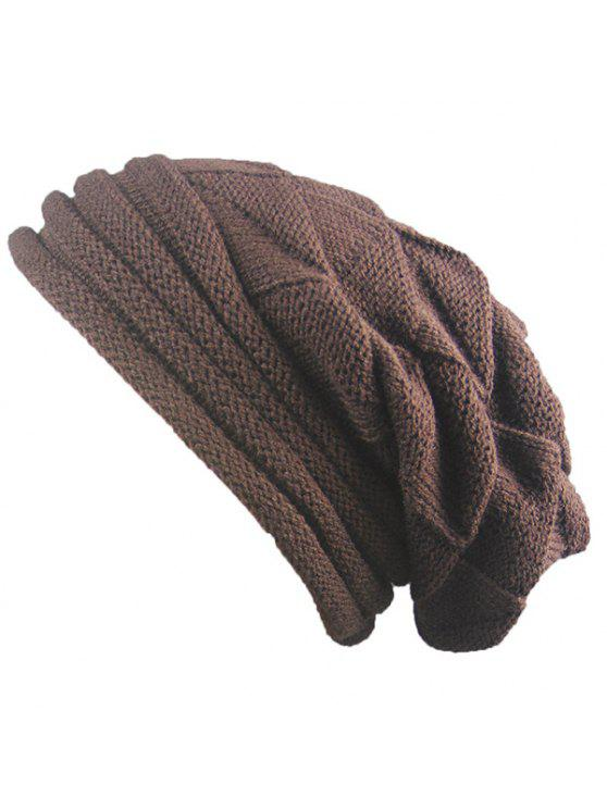 latest Knitted Triangle Fold Warm Beanie Hat - COFFEE