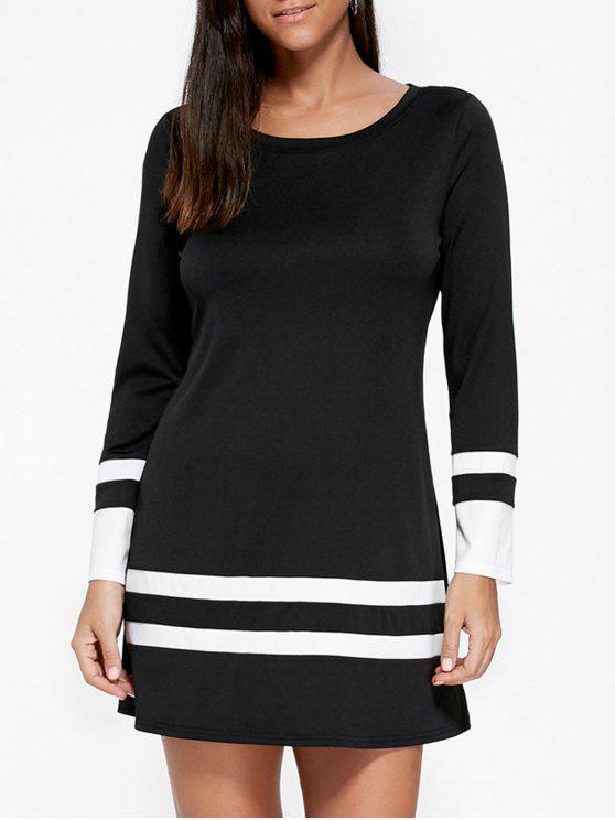 فستان قصير طويلة الأكمام - أسود 2XL