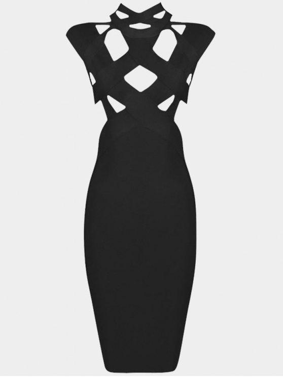 latest Cut Out Fitted Bandage Dress - BLACK L