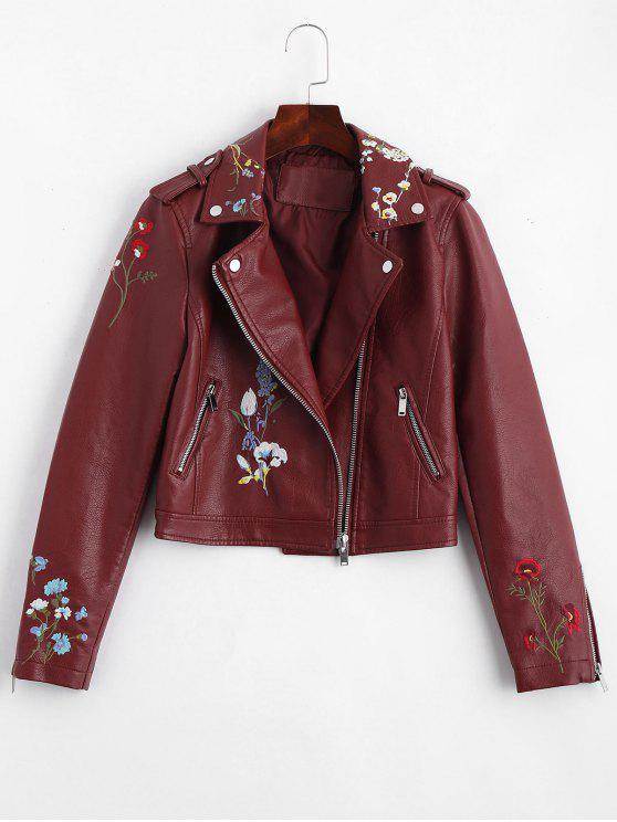 chic Floral Patched Zippered Faux Leather Jacket - WINE RED M