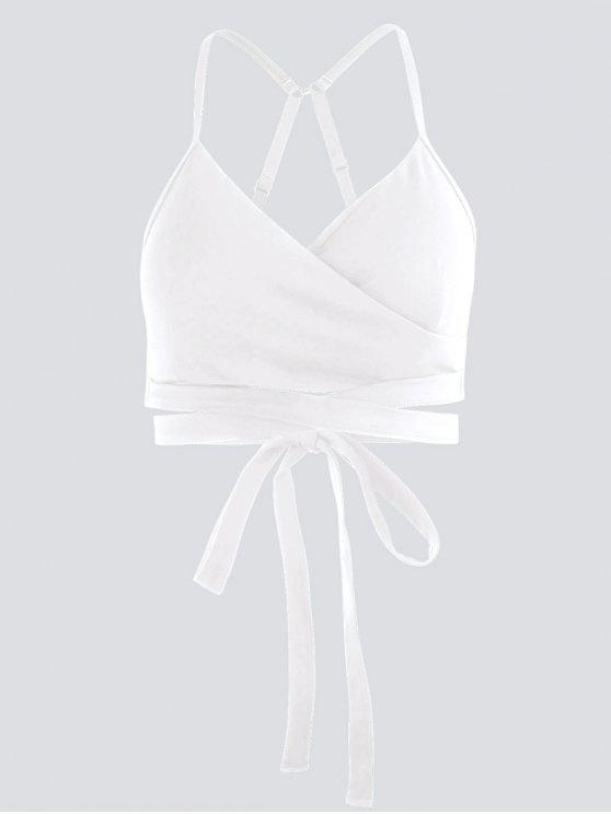 affordable Active Padded Wrap Yoga Top - WHITE M