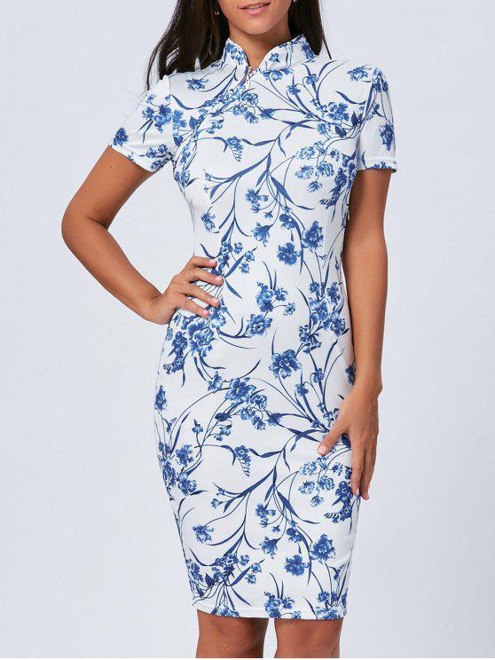 Vestido Azul Y Blanco De Cheongsam De La Porcelana De La Vendimia Blue