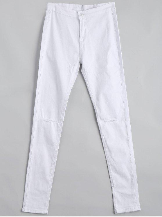 Pantalon Slim Taille Haute Déchiré - Blanc 2XL
