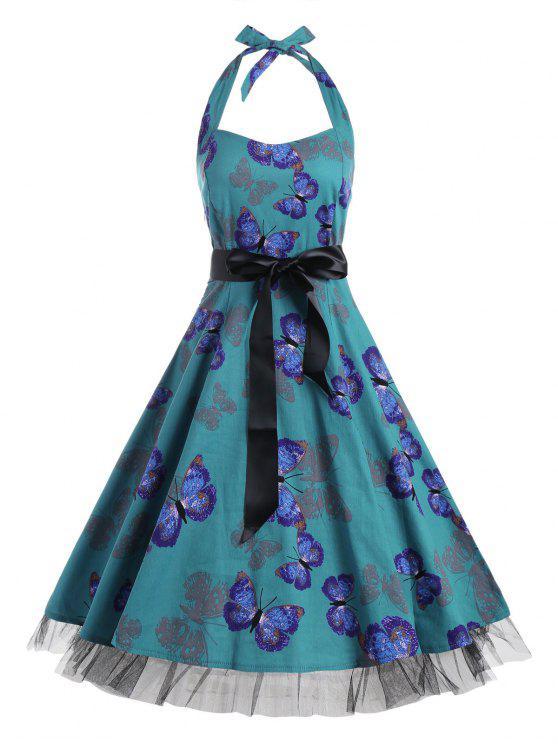 فستان توهج كلاسيكي طباعة - ديب غرين XL