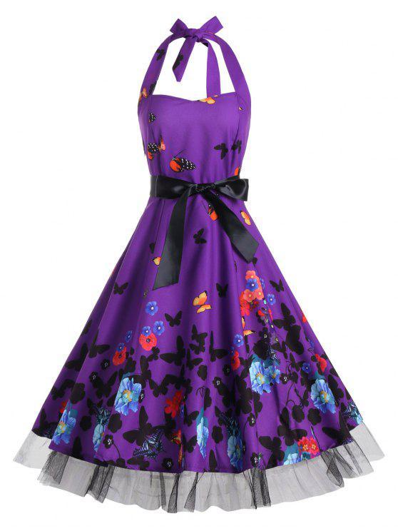 فستان توهج كلاسيكي طباعة - ديب بيربل L