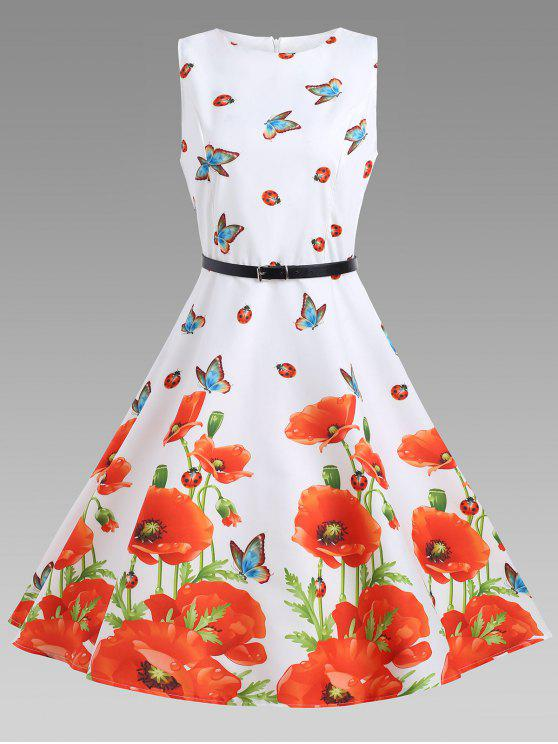 فستان الصيف بلا أكمام توهج - الأزهار XL