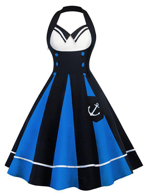 فستان كلاسيكي كتلة اللون رسن - الأزرق والأسود XL