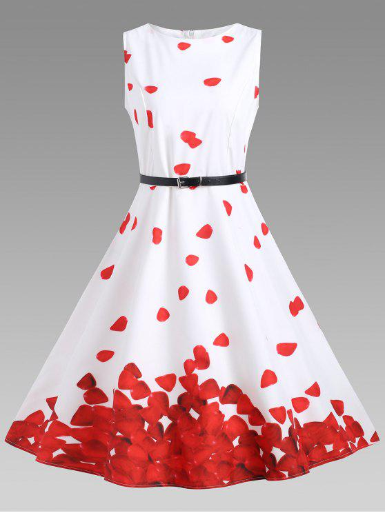 فستان الحفلة توهج كلاسيكي - الأحمر مع الأبيض XL