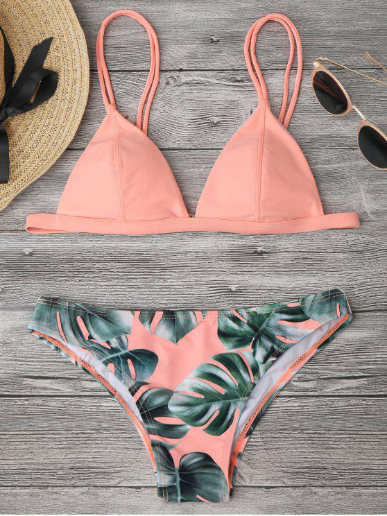affordable Cami Palm Leaf Print Bikini - ORANGEPINK M