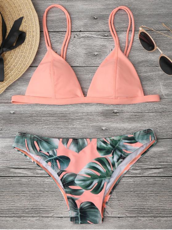 unique Cami Palm Leaf Print Bikini - ORANGEPINK XL