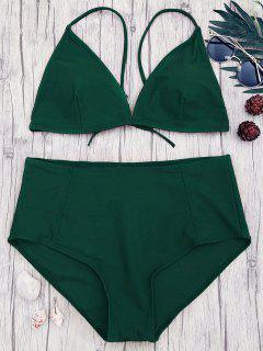 High Waisted Plus Size Bikini Set - Green 2xl