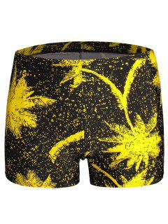 Leaf  Print Swim Trunks - Yellow