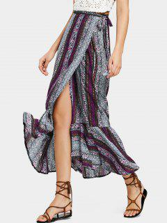 Ruffled Hem Wrap Tribal Maxi Skirt - Purple