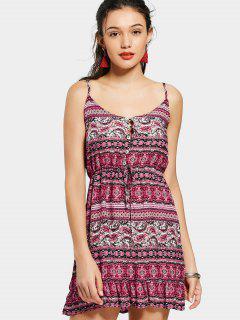 Half Buttoned Ruffels Tribal A Line Dress - Red Xl