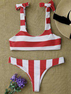 Striped Tie Shoulder Scoop Bikini Set - Red And White M