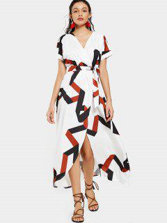 Belted Geometric Surplice Maxi Dress - White 2xl