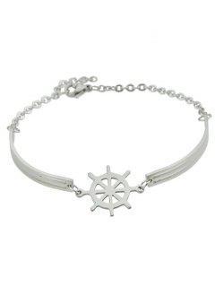 Boat Helm Charm Bracelet - Silver