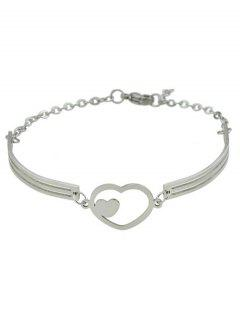 Double Heart Alloy Bracelet - Silver
