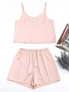 Cami Satin Tank Top And High Waisted Casual Shorts - Pinkbeige S