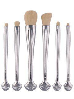 6Pcs Plated Shell Facial Eye Makeup Brushes Set - Silver