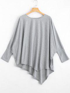 Dolman Sleeve Asymmetric Tee - Gray