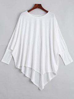 Dolman Sleeve Asymmetric Tee - White
