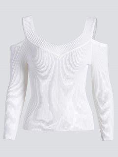 Cold Shoulder Ribbed Knitted Tee - White