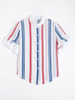 Camisa De Manga Corta Con Volantes De Rayas - Raya M