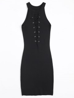 Knitting Lace Up Bodycon Dress - Black