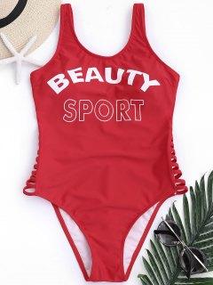 Low Back Beauty Sport One Piece Swimwear - Red M