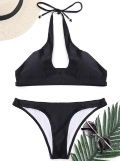 Cut Out Banded Halter Bikini Set - Black S