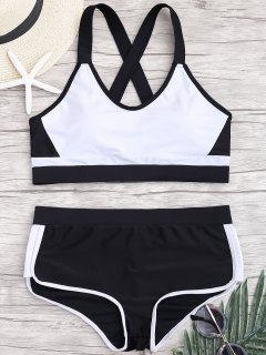 Cross Back Color Block Sporty Bikini - White And Black S
