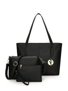 3 Pieces Stitching Faux Leather Shoulder Bag Set - Black