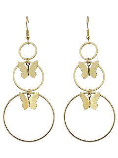 Metal Circle Butterfly Hook Earrings - Golden