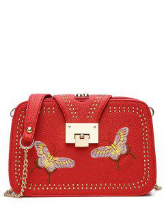 Studded Embroidery Chain Crossbody Bag - Red
