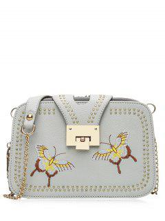 Studded Embroidery Chain Crossbody Bag - Gray