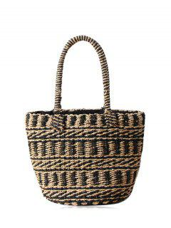 Color Block Straw String Tote Bag - Black