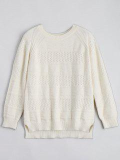 Hollow Out Crew Neck Sweater - Beige