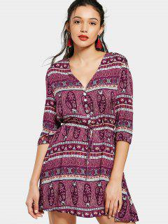 Printed Belted Half Buttoned Mini Dress - Purple L