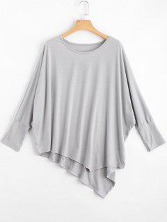 Dolman Sleeve Asymmetric Tee - Light Gray