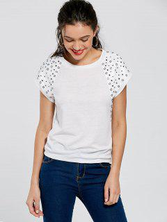Raglan Sleeve Rivet Tee - White S
