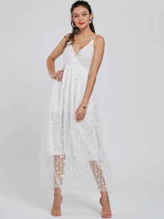 Robe Longue à Bretelles Effet En Tulle à étoile - Blanc S