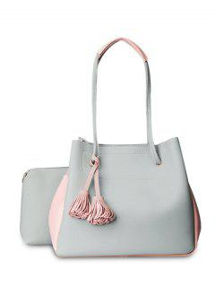 Tassels Colour Block Shoulder Bag Set - Light Gray
