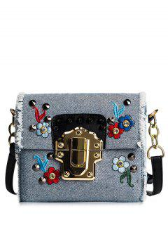 Rivets Denim Embroidered Crossbody Bag - Blue