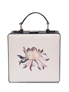 Floral Print Box Shaped Crossbody Bag - Off-white
