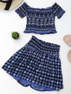 Tribal Print Crop Top And Skorts Set - Purplish Blue Xl