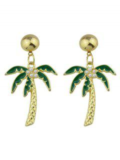 Coconut Tree Pendant Earrings - Green
